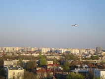 Aerial view of residential area in Bucharest. Residential area in Floreasca district in Bucharest, with an helicopter flying over it Royalty Free Stock Images