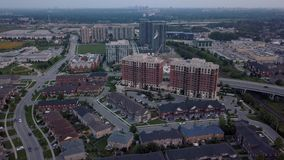 Aerial view of the residential area of the city 4k. Flying with drone above residential area of Toronto stock video