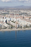 Aerial view of a residential area in Malaga near the beach. Stock Photos