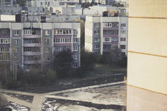 Aerial view on residential blocks of flats in Russia. Aerial view on residential blocks of flats in Kursk Royalty Free Stock Photography