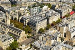Aerial View of Residential Buildings Rooftops in Paris stock image