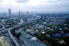 Aerial view of residential and commercial areas and establishments in Metro Manila. METRO MANILA, PHILIPPINES - JULY 31, 2017: Aerial view of residential and stock image
