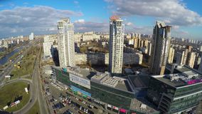 Aerial view of residential district in big city, tall buildings. Stock footage stock footage