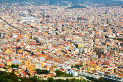 Aerial view of residential  district in european city. Barcelona Royalty Free Stock Photography
