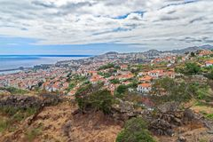 Aerial view at residential district in Funchal city, Portugal. Aerial view at residential district in Funchal city. Portuguese island of Madeira royalty free stock image