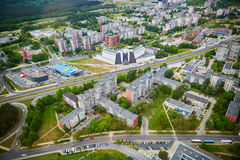 Aerial view of residential district of Vilnius taken form TV tower Royalty Free Stock Images