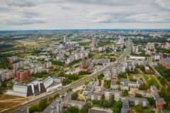 Aerial view of residential district of Vilnius taken form TV tower Royalty Free Stock Photo