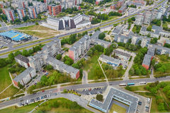 Aerial view of residential district of Vilnius taken form TV tower Royalty Free Stock Photography