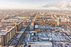 Aerial view on residential district at winter Stock Photo