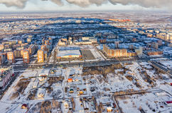Aerial view on residential district at winter Stock Image