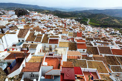 Aerial view of residential districts in spanish town Royalty Free Stock Photo