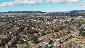 Aerial view of residential districts in Temuco, southern Chile stock footage