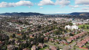 Aerial view of residential districts in Temuco, southern Chile stock video footage