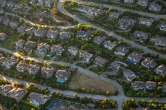 Aerial View of Residential Homes. Aerial view of the big luxury homes on the hill during a vibrant sunny summer day. Taken in West Vancouver, British Columbia royalty free stock photos
