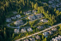 Aerial View of Residential Homes. Aerial view of the big luxury homes on the hill during a vibrant sunny summer day. Taken in West Vancouver, British Columbia royalty free stock photography