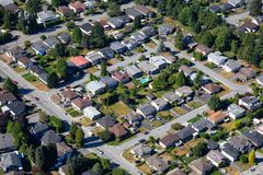 Aerial View of Residential Homes. Aerial view of the residential homes in a suburban neighborhood. Taken in Burnaby, Greater Vancouver, BC, Canada royalty free stock image