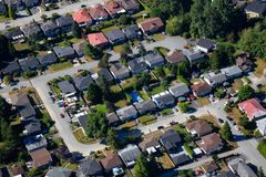 Aerial View of Residential Homes. Aerial view of the residential homes in a suburban neighborhood. Taken in Burnaby, Greater Vancouver, BC, Canada stock photo