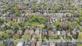Aerial view of residential homes in Toronto, Ontario in late spring.
