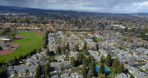 Aerial view of residential houses district. Birds eye aerial view of residential houses district, 4k video stock footage
