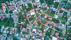 Aerial view of residential houses and driveways. Stock Photos