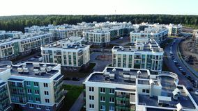 Aerial view on residential houses in modern stock footage