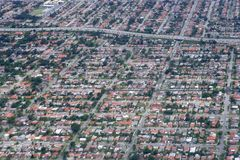 Aerial view of residential houses in Texas Stock Images