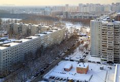 Aerial view of the residential neighborhood. Balashikha, Russia stock images