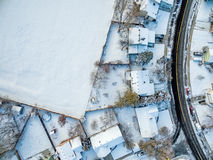 Aerial view of residential neighborhood Stock Images