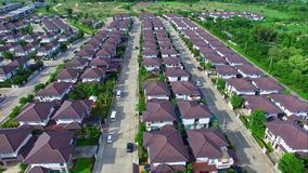Aerial view of residential neighborhood in the suburbs,chiangmai,thailand