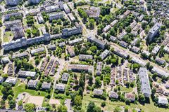 Aerial view of a residential neighborhood on a sunny day royalty free stock images