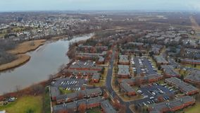 Aerial view of residential neighborhood the US. housing developmen. Aerial view of residential neighborhood in the US. housing developmen stock video footage