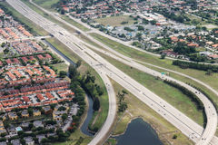 An aerial view of residential neighbourhood in Miami Royalty Free Stock Image