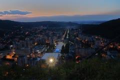 Aerial view of Resita, night scene. Aerial view of downtown of Resita, Romania. HDR image Royalty Free Stock Photo