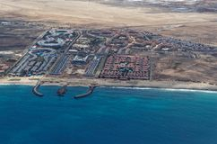 Resort area on the island Sal, Cape Verde. Aerial view at the resort area on the island Sal, Cape Verde stock image