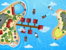Aerial view of resort buildings and boats at the sea. Illustration Royalty Free Stock Photos