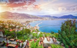 Aerial view resort city Alanya in southern coast of Turkey Royalty Free Stock Photos