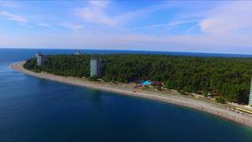 Aerial view on resort town of Pitsunda stock footage