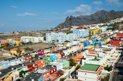 Aerial view of the resort town of Punta del Hidalgo. Typical architecture of the North coast of Tenerife. Canary Islands, Spain. Aerial view of the resort town royalty free stock photography
