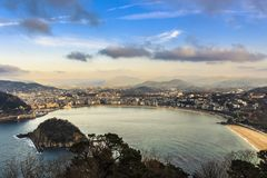 Aerial view of the resort town of San Sebastian in the mountainous Basque Country stock images
