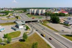 Aerial view on Respubliki street bridge. Tyumen Stock Photos