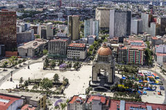 Aerial view of revolution monumento plaza in mexico city Stock Photography