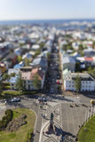 Aerial view of Reykjavik, the capital of Iceland with tilt effect Stock Photography
