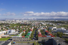 Aerial view of Reykjavik, the capital of Iceland with tilt effect Royalty Free Stock Photography