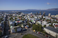 Aerial view of Reykjavik, construction of tall buildings in June 2015. Aerial view of Reykjavik, tilt effect with focus on construction of tall buildings in June stock image