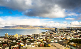 Aerial View of Reykjavik and Ocean Stock Images