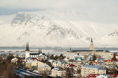 Aerial view of Reykjavik from Perlan, snow capped mountains in winter, Iceland Stock Photography