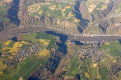 Aerial view of Rhine River in Germany Royalty Free Stock Photo