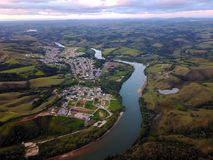 Aerial view of Ribeirão Vermelho. Small town of Ribeirão Vermelho on the bank of the Rio Grande Royalty Free Stock Photo