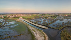 Aerial View of Ribeira do Gago at sunset Royalty Free Stock Images