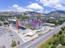Rice–Eccles Stadium aerial view Salt Lake City, Utah, USA. Aerial view of Rice–Eccles Stadium in University of Utah in Salt Lake City, Utah, USA. It is the Royalty Free Stock Photos